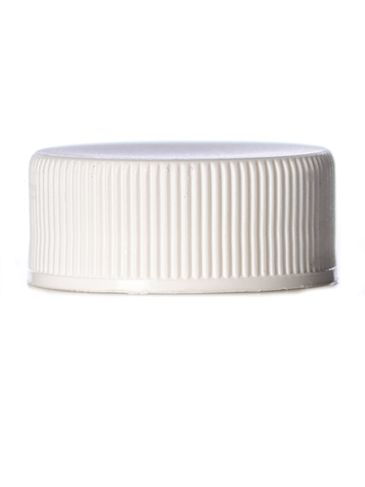 White PP plastic 24-400 ribbed skirt lid with  printed pressure sensitive (PS) liner