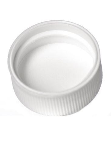 White PP plastic 24-400 ribbed skirt lid with foam liner