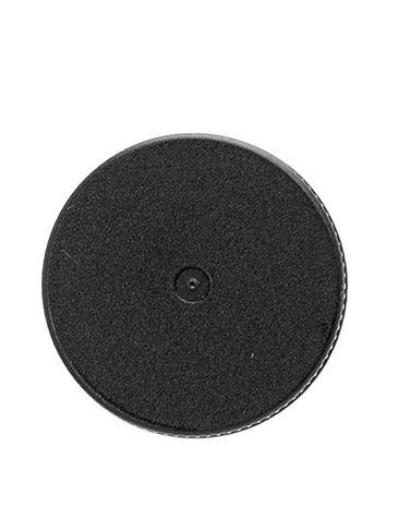Black PP plastic 20-410 ribbed skirt lid with foam liner