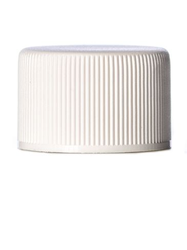 White PP plastic 24-410 ribbed skirt lid with heat induction seal (HIS) liner (for HDPE, LDPE and MDPE containers only)