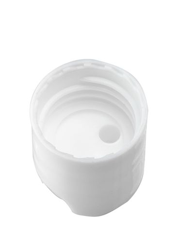 White PP plastic 20-410 smooth skirt unlined disc top cap