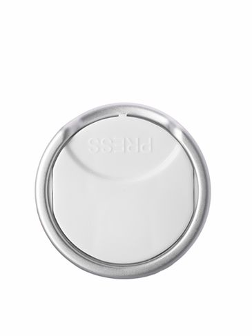 White PP and brushed aluminum shell 24-410 smooth skirt disc top cap