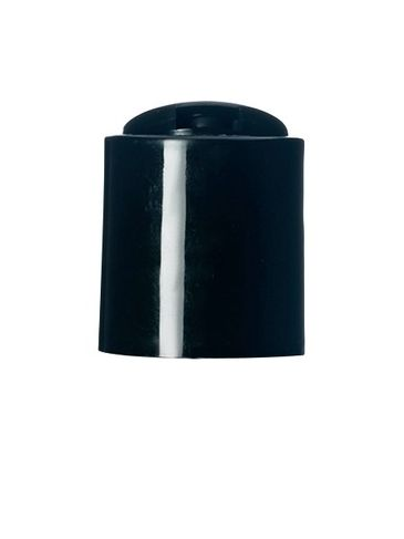 Black PP plastic 20-410 smooth skirt unlined disc top lid