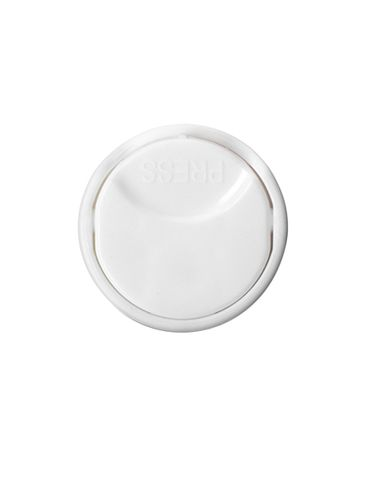 White PP plastic 20-410 smooth skirt unlined disc top lid