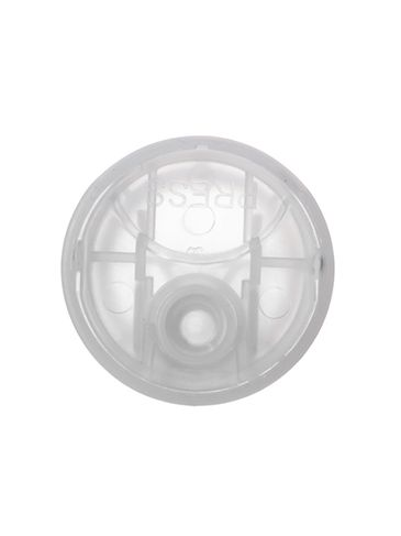 Natural-colored PP plastic 24-410 smooth skirt unlined disc top lid
