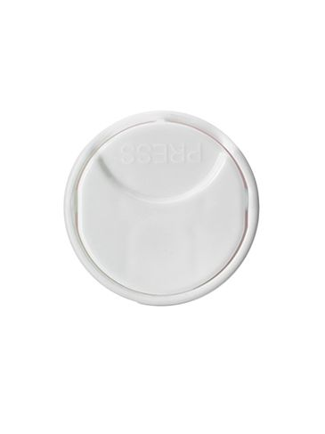 White PP plastic 24-410 smooth skirt unlined disc top lid
