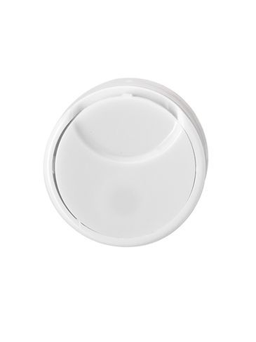 White PP plastic 20-410 smooth skirt flat disc top unlined cap (0.27 orifice)
