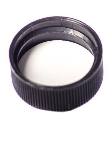 Black PP plastic 24-400 ribbed skirt lid with foam liner