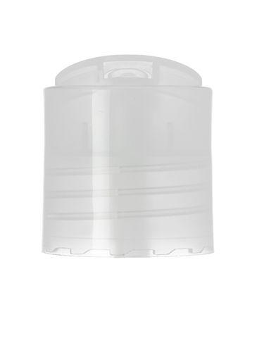 Natural PP plastic 28-410 smooth skirt unlined disc top lid (.330 inch orifice)