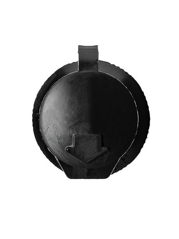 Black LDPE plastic 24-410 ribbed skirt dispensing lid with strap cap (0.12 inch orifice)