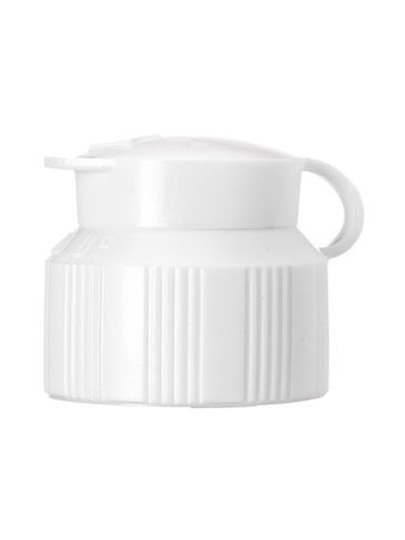 White LDPE plastic 24-410 ribbed skirt dispensing lid with strap cap (0.12 inch orifice)