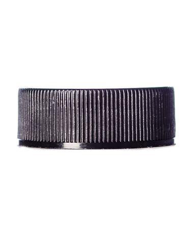 Black PP plastic 28-400 ribbed skirt lid with foam liner