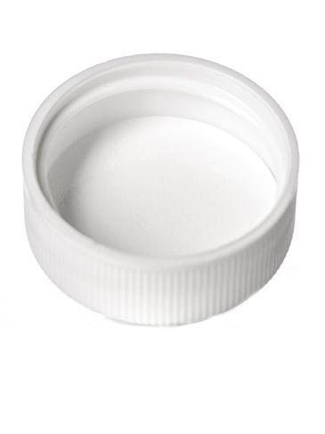 White PP plastic 28-400 ribbed skirt lid with foam liner