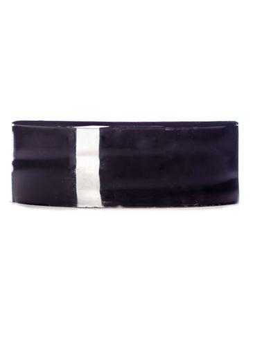Black PP plastic 28-400 smooth skirt lid with printed pressure sensitive (PS) liner
