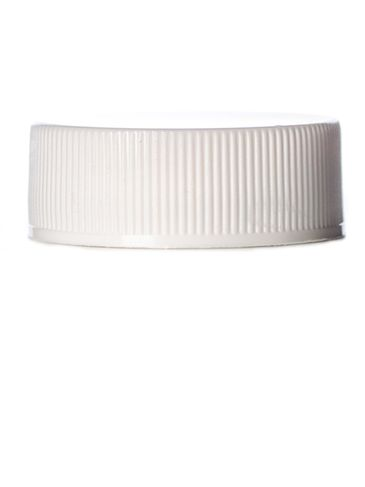 White PP plastic 28-400 ribbed skirt lid with printed universal heat induction seal (HIS) liner