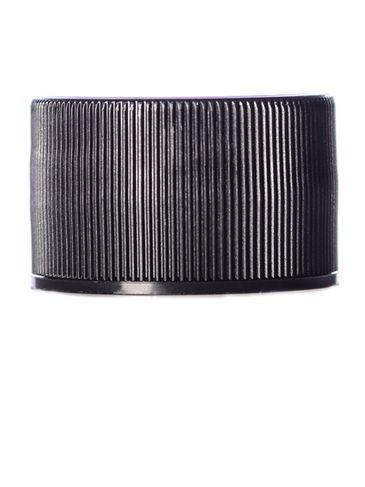 Black PP plastic 28-410 ribbed skirt lid with printed pressure sensitive (PS) liner
