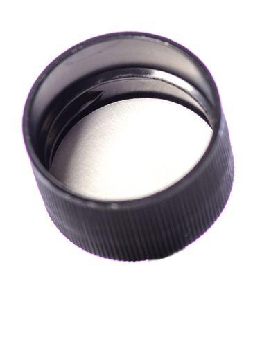 Black PP plastic 28-410 ribbed skirt lid with foam liner