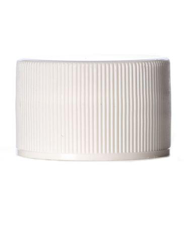 White PP plastic 28-410 ribbed skirt lid with foam liner