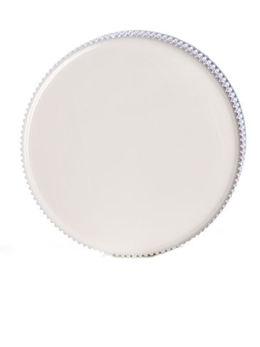 White PP plastic 28-410 ribbed skirt lid with printed pressure sensitive (PS) liner