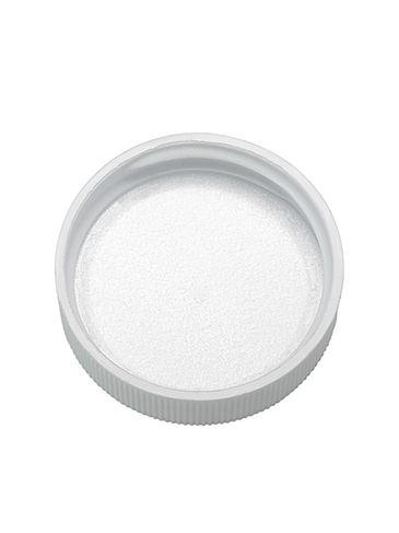 White PP plastic 38-400 ribbed skirt lid with foam liner