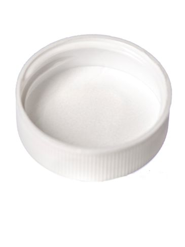 White PP plastic 33-400 ribbed skirt lid with unprinted pressure sensitive (PS) liner