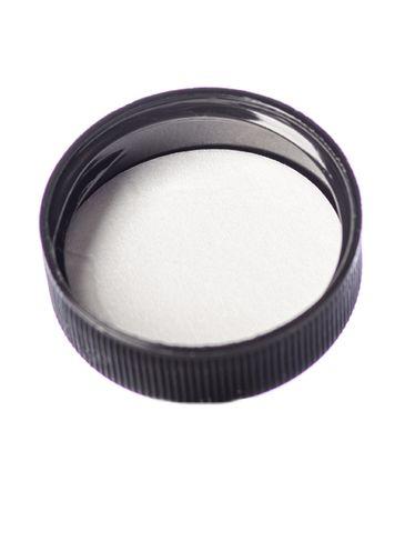 Black PP plastic 33-400 ribbed skirt lid with printed pressure sensitive (PS) liner