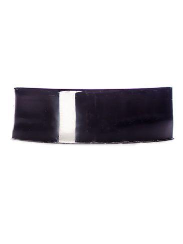 Black PP plastic 33-400 smooth skirt side-gated lid with printed pressure sensitive (PS) liner