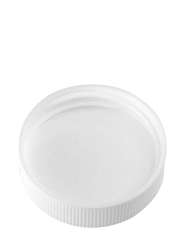 White PP plastic 38-400 ribbed skirt lid with unprinted pressure sensitive (PS) liner