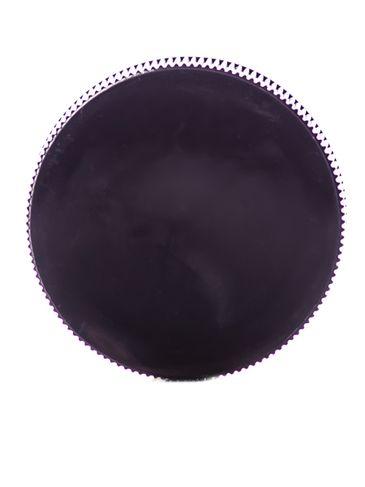 Black PP plastic 38-400 ribbed skirt lid with unprinted pressure sensitive (PS) liner