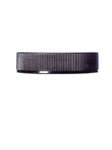 Black PP plastic 45-400 ribbed skirt lid with unprinted pressure sensitive (PS) liner