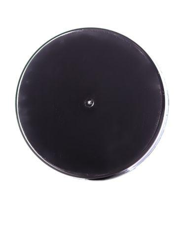 Black PP plastic 43-400 smooth skirt lid with printed pressure sensitive (PS) liner