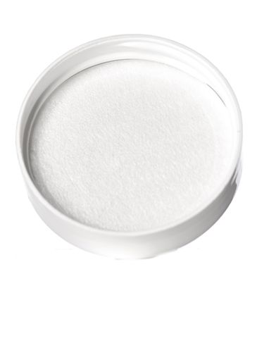 White PP plastic 43-400 smooth skirt lid with printed pressure sensitive (PS) liner