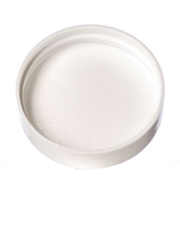 White PP plastic 45-400 smooth skirt lid with unprinted pressure sensitive (PS) liner