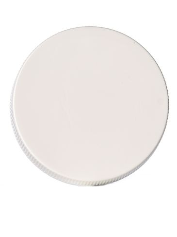 White PP plastic 48-400 ribbed skirt lid with printed pressure sensitive (PS) liner