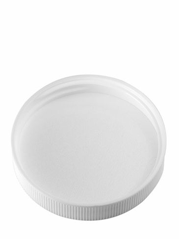 White PP plastic 53-400 ribbed skirt lid with unprinted pressure sensitive (PS) liner