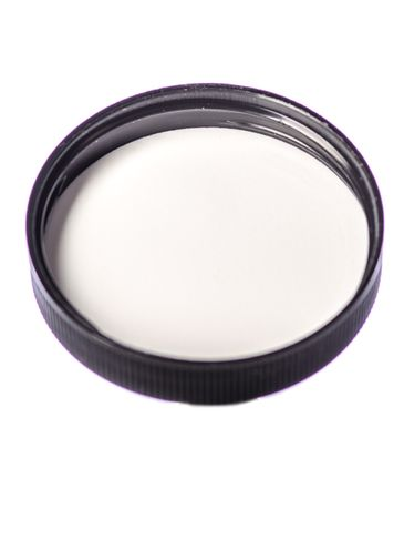Black PP plastic 53-400 ribbed skirt lid with foam liner
