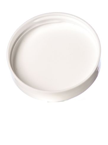 White PP plastic 53-400 smooth skirt lid with foam liner