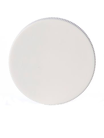 White PP plastic 53-400 ribbed skirt lid with Lift 'n' Peel heat induction seal (HIS) liner (for HDPE, LDPE, MDPE, and PP plastic containers only)