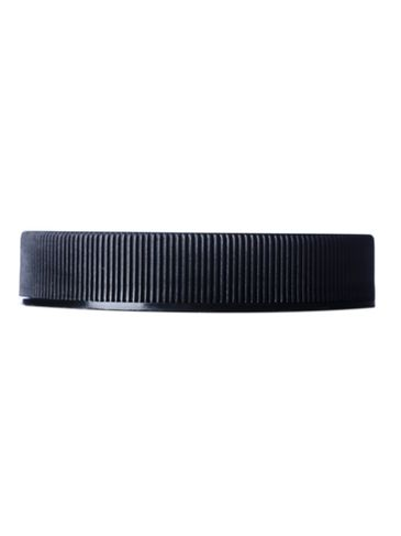 Black PP plastic 58-400 ribbed skirt lid with heat induction seal (HIS) liner (for PET and PVC containers only)