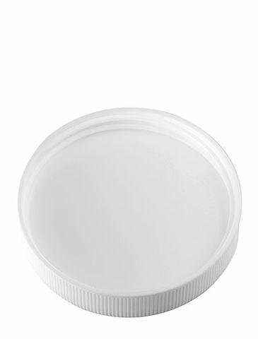 White PP plastic 58-400 ribbed skirt lid with foam liner