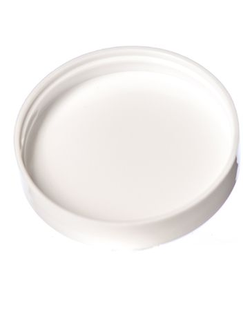 White PP plastic 58-400 smooth skirt lid with foam liner
