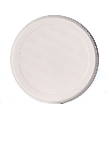 White PP plastic 63-485 ribbed skirt lid with printed pressure sensitive (PS) liner