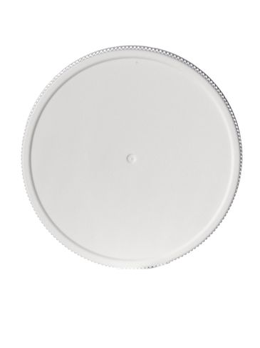 White PP plastic 63-400 ribbed skirt lid with printed pressure sensitive (PS) liner