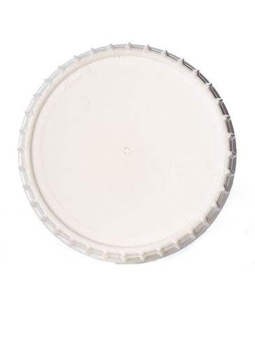 White PP plastic 63-485 ribbed skirt lid with foam liner and unprinted pressure sensitive (PS) liners
