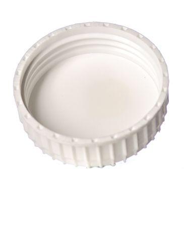 White PP plastic 63-485 ribbed skirt lid with foam liner