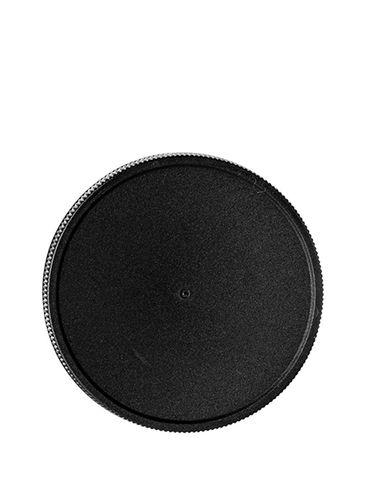 Black PP plastic 70-400 ribbed skirt lid with unprinted pressure sensitive (PS) liner