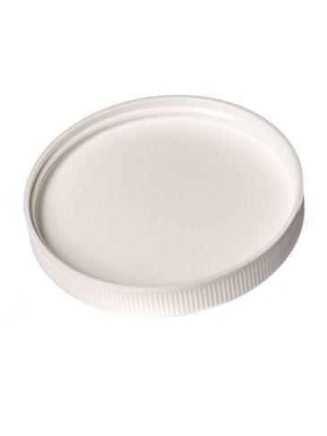 White PP plastic 70-400 ribbed skirt lid with foam liner