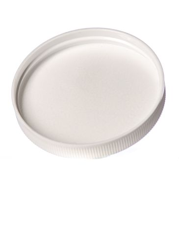 White PP plastic 70-400 ribbed skirt lid with unprinted pressure sensitive (PS) liner