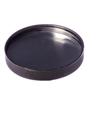 Black PP plastic 89-400 ribbed skirt lid with heat induction seal (HIS) liner (for PET containers only)