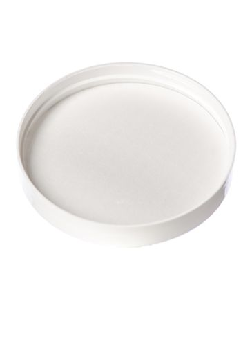 White PP plastic 89-400 smooth skirt lid with printed pressure sensitive (PS) liner